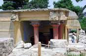 Knossos, the capital of the Minoan culture. The first palace of Knossos was built around 1900 B.C., Crete. Greece.